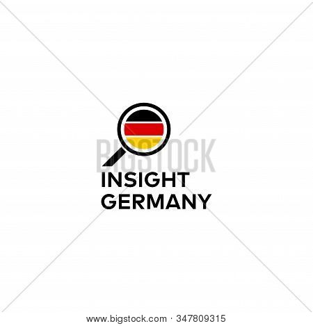 Modern Logo Design Of Germany Flag And Searching Icon With White Background - Eps10 - Vector.