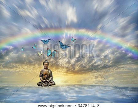Spiritual Background For Meditation With Budha Statue And Butterflies