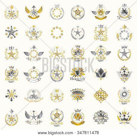 Crowns And Stars Vintage Heraldic Emblems Vector Big Set, Antique Heraldry Symbolic Badges And Award