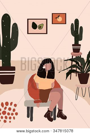 Abstract Modern Woman In Fashion Trendy Clothes Sitting On Chair In Room With Cactus Pot. Trendy Art