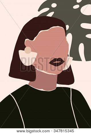 Abstract Modern Young Woman With Earrings Portrait Silhouette. Fashion Minimal Trendy People Face In