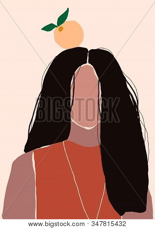 Abstract Modern Young Woman With Long Hair Portrait Silhouette. Fashion Minimal Trendy People Face I