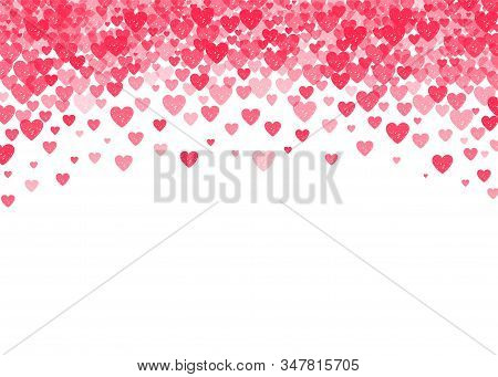 Falling Red Hearts Confetti Romantic Background For Vallentines Day Or Wedding Design, Greeting Card