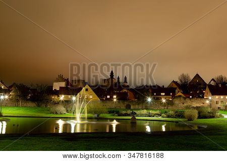 The Pond In Almedalen, Visby, Sweden By Night.