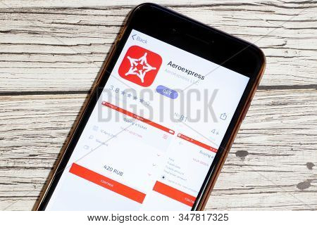 Los Angeles, California, Usa - 25 January 2020: Logo Of Aeroexpress Mobile App On Phone Screen Close