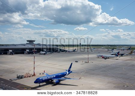 July 2, 2019, Moscow, Russia. Tupolev Tu-204  Aviastar  Airline In The Blue Livery Of The Company Ru