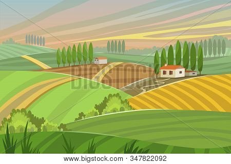 Rural Tuscany Landscape In Summer Sunset With Farm House And Cypress Trees, Hills And Mountains