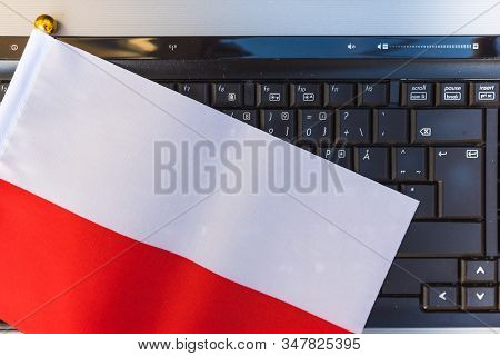 Flag Of Poland On Computer, Laptop Keyboard