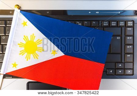 Flag Of Philippines On Computer, Laptop Keyboard