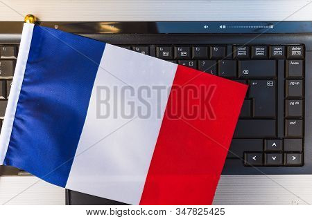 Flag Of France On Computer, Laptop Keyboard
