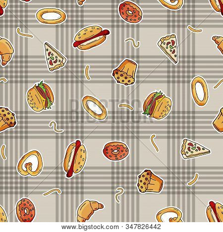 Seamless Pattern Of Scattered Hot Dogs, Pizza, Squirrels, Quacks, Cupcakes, On The Surface. Vector I