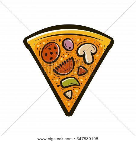 Slice Of Pizza. Food Symbol Vector Illustration