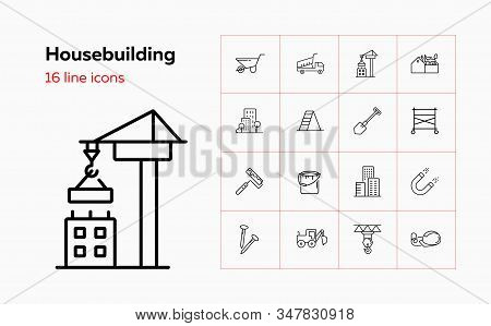 Housebuilding Line Icon Set. Dump Truck, Scaffold, Business Center. Construction Concept. Can Be Use