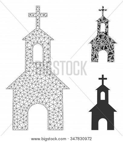 Mesh Catholic Kirch Model With Triangle Mosaic Icon. Wire Frame Polygonal Mesh Of Catholic Kirch. Ve