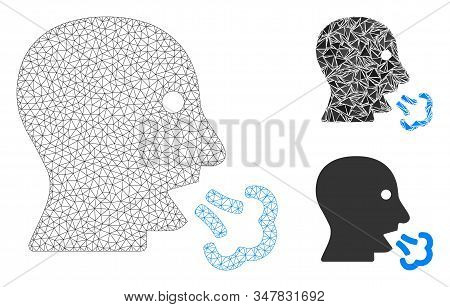 Mesh Mouth Breath Model With Triangle Mosaic Icon. Wire Frame Polygonal Mesh Of Mouth Breath. Vector