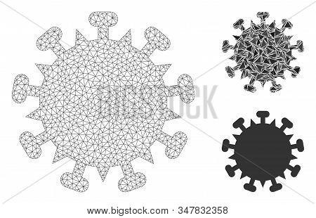 Mesh Sars Virus Model With Triangle Mosaic Icon. Wire Carcass Polygonal Mesh Of Sars Virus. Vector C
