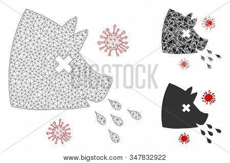 Mesh Swine Flu Model With Triangle Mosaic Icon. Wire Carcass Polygonal Mesh Of Swine Flu. Vector Mos
