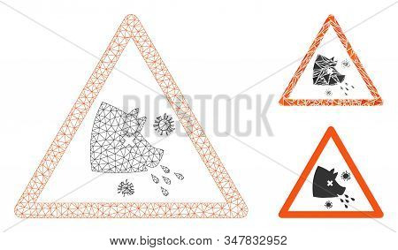 Mesh Swine Flu Warning Model With Triangle Mosaic Icon. Wire Carcass Polygonal Mesh Of Swine Flu War