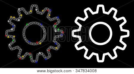 Glowing Mesh Outline Pinion Icon With Lightspot Effect. Abstract Illuminated Model Of Outline Pinion