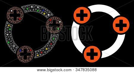 Glossy Mesh Medical Collaboration Icon With Glitter Effect. Abstract Illuminated Model Of Medical Co