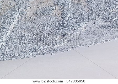 Avalanche On High Mountains. Close - Up View.
