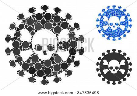 Deadly Virus Mosaic Of Spheric Dots In Various Sizes And Color Hues, Based On Deadly Virus Icon. Vec