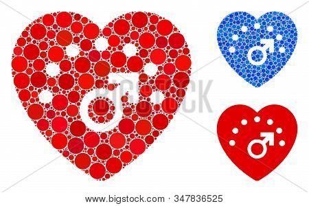 Love Meter Composition Of Round Dots In Various Sizes And Color Tones, Based On Love Meter Icon. Vec