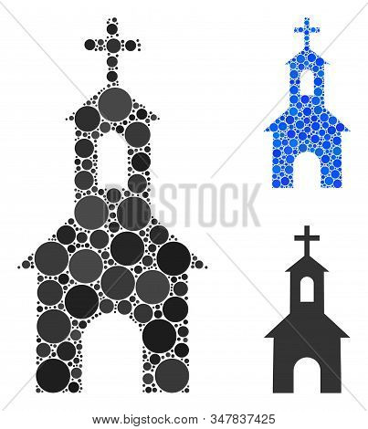 Catholic Kirch Mosaic Of Round Dots In Different Sizes And Shades, Based On Catholic Kirch Icon. Vec