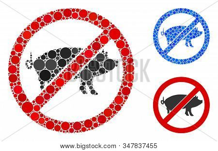 Stop Swine Mosaic Of Filled Circles In Different Sizes And Color Tinges, Based On Stop Swine Icon. V