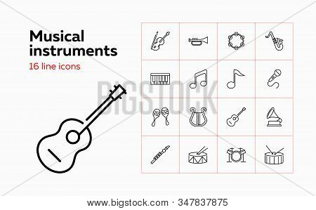 Musical Instruments Icons. Set Of Line Icons On White Background. Music Band, Concert, Orchestra. Mu