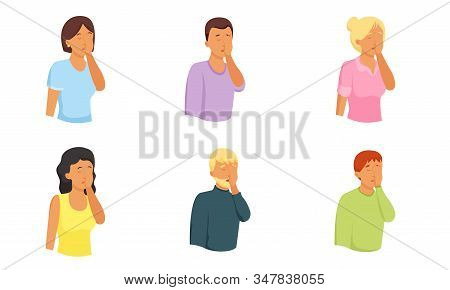 Men And Women Expressing Grief, Despair, Frustration Vector Illustration