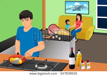 A Vector Illustration Of Father Cooking While Mother And Kids In The Living Room Relaxing