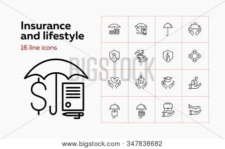 Insurance And Lifestyle Icon Set. Set Of Line Icons On White Background. House, Protection. Safety A