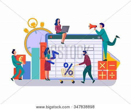 Accounting App Vector Illustration. Professionals Working On Financial Reports, Analyzing Data Sheet