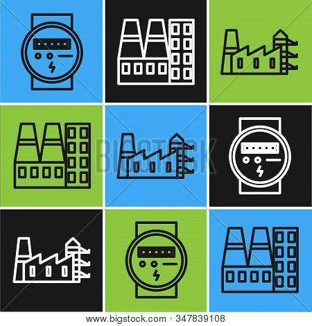 Set Line Electric Meter, Power Station Plant And Factory And Power Station Plant And Factory Icon. V