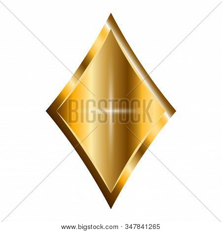 Isolated Shiny Golden Diamond. Jewelry Object - Vector