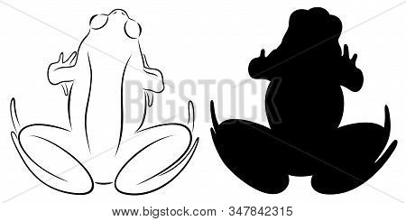 Vector Illustration Of Outline Sitting  Frog And Her Silhouette, Isolated, In Black Color, On White
