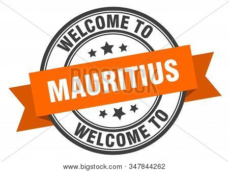 Mauritius Stamp. Welcome To Mauritius Orange Sign