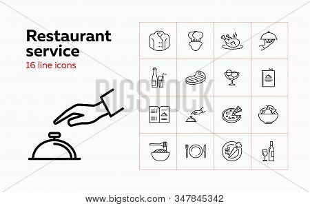 Restaurant Service Line Icon Set. Chef, Meal, Menu. Catering Concept. Can Be Used For Topics Like Ca