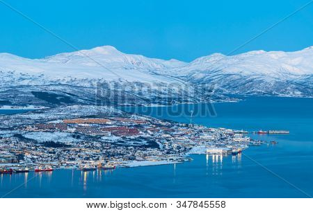 Tromso Harbor Aerial view,  Tromso At Winter, Norway