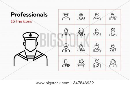 Professionals Line Icon Set. Cook, Financier, Sailor, Chemist. People Concept. Can Be Used For Topic