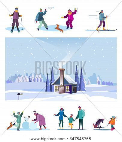 Winter Family Recreation Set. Kids Skiing, Playing Snowballs, Country Landscape With Cottage. Flat V