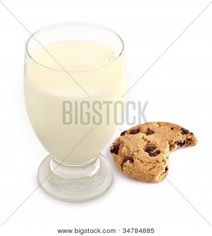 Milk And Cookie With Bite Taken