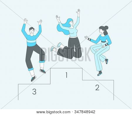 People On Pedestal Outline Vector Illustration. Cheerful Contest Competitors, Championship Winners C
