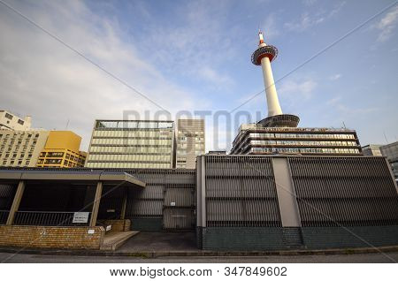Kyoto, Japan- 24 Nov, 2019: Kyoto Tower Located In Kyoto, Japan. The Tower Is The Tallest Structure