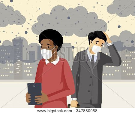 People Inhaling Smog Flat Vector Illustration. Industrial Emissions, Co2 Negative Health Influence,