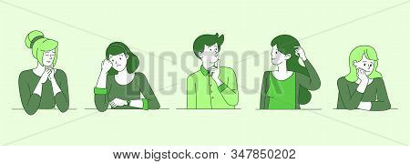 Worried, Confused People Cartoon Linear Illustrations. Young Guys, Girls In Doubt, Searching Solutio