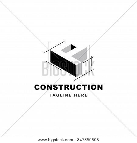 Construction Logo Design With Letter P Shape Icon. Initial Letter P On Building Symbol