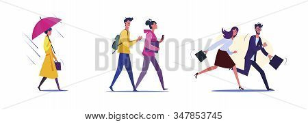 Set Of Employees Walking And Rushing To Work. Flat Vector Illustrations Of Students Going To Classes
