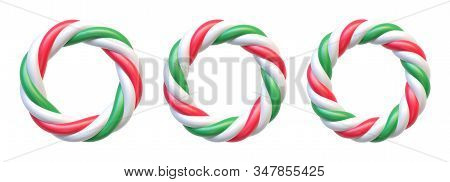 Set Of Candy Cane Circle Frames. Swirl Hard Candy Round Borders With Copy Space